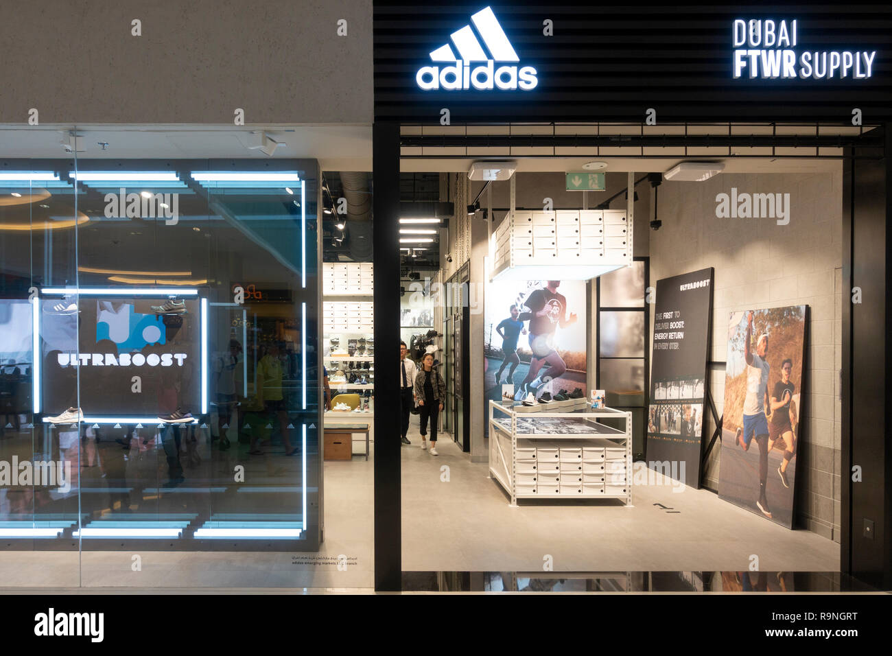 New Adidas footwear shop , Dubai FTWR Supply, inside Dubai Mall, Dubai,UAE - Stock Image