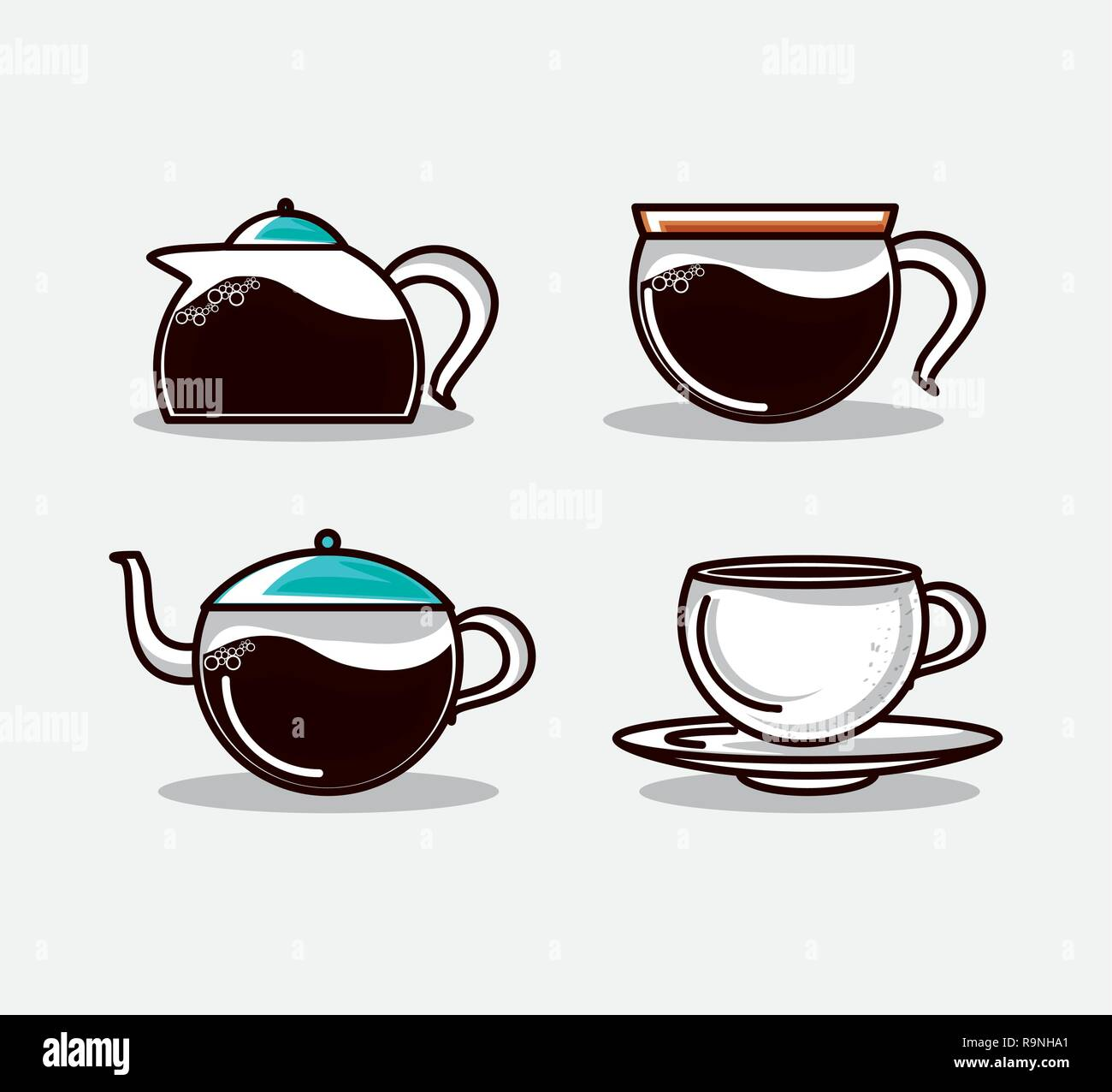 set teapots kitchen and cups vector illustration design - Stock Image