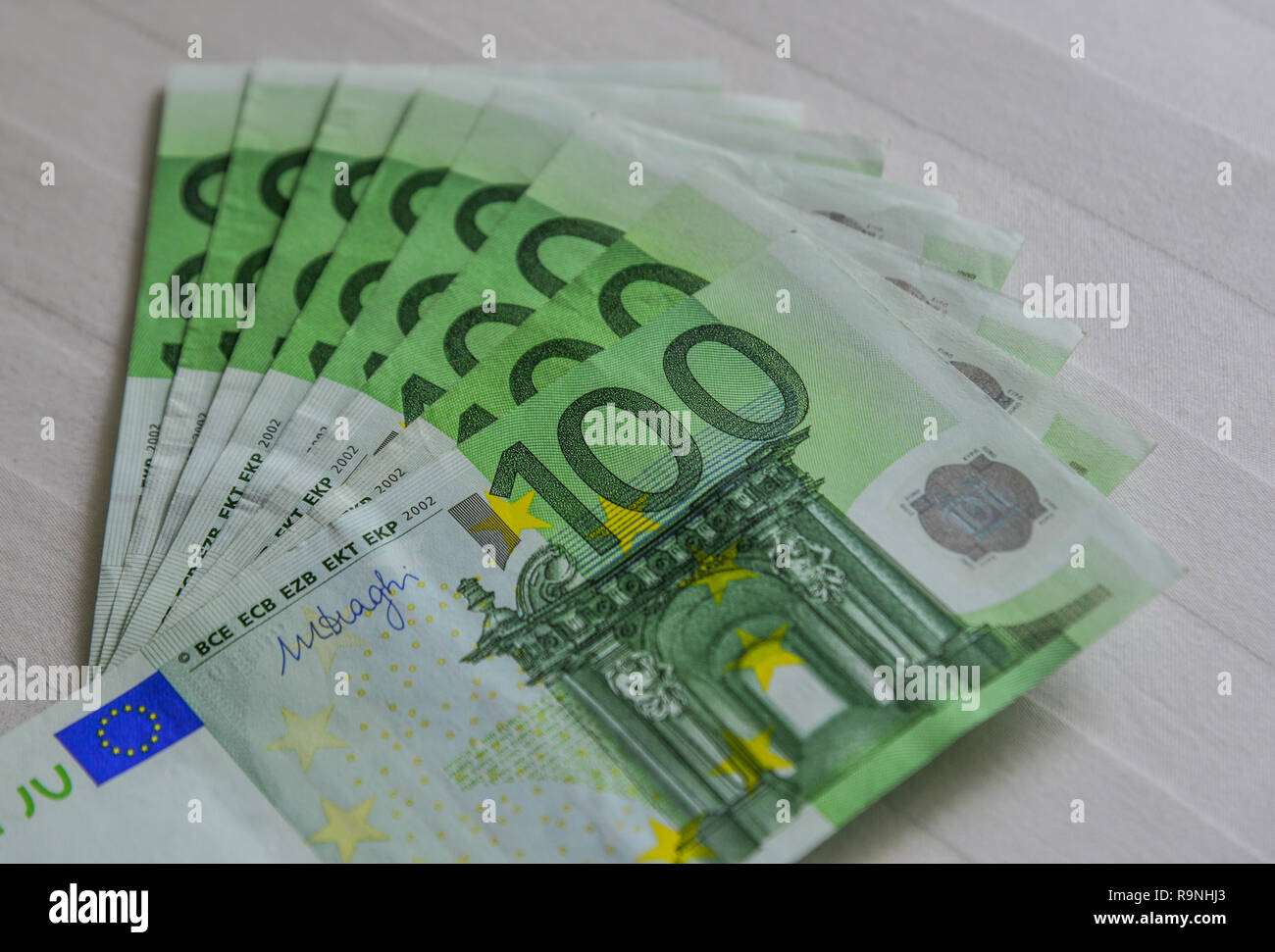 Euro billnote (EUR) background. The currency of the Euro area and institutions was issued in 2002. - Stock Image