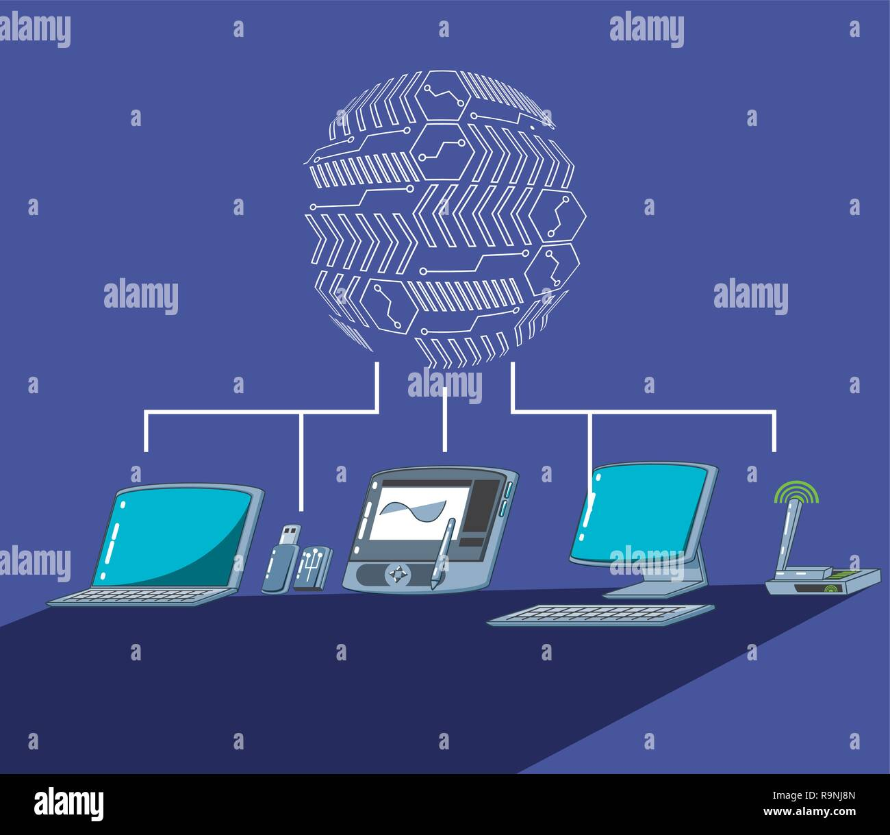 graphic tablet with computers vector illustration design - Stock Image