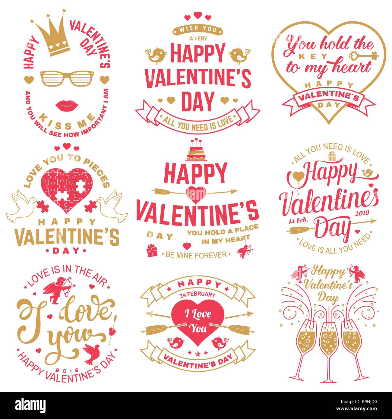 dce65d074ca Set of Happy Valentines Day sign. Stamp
