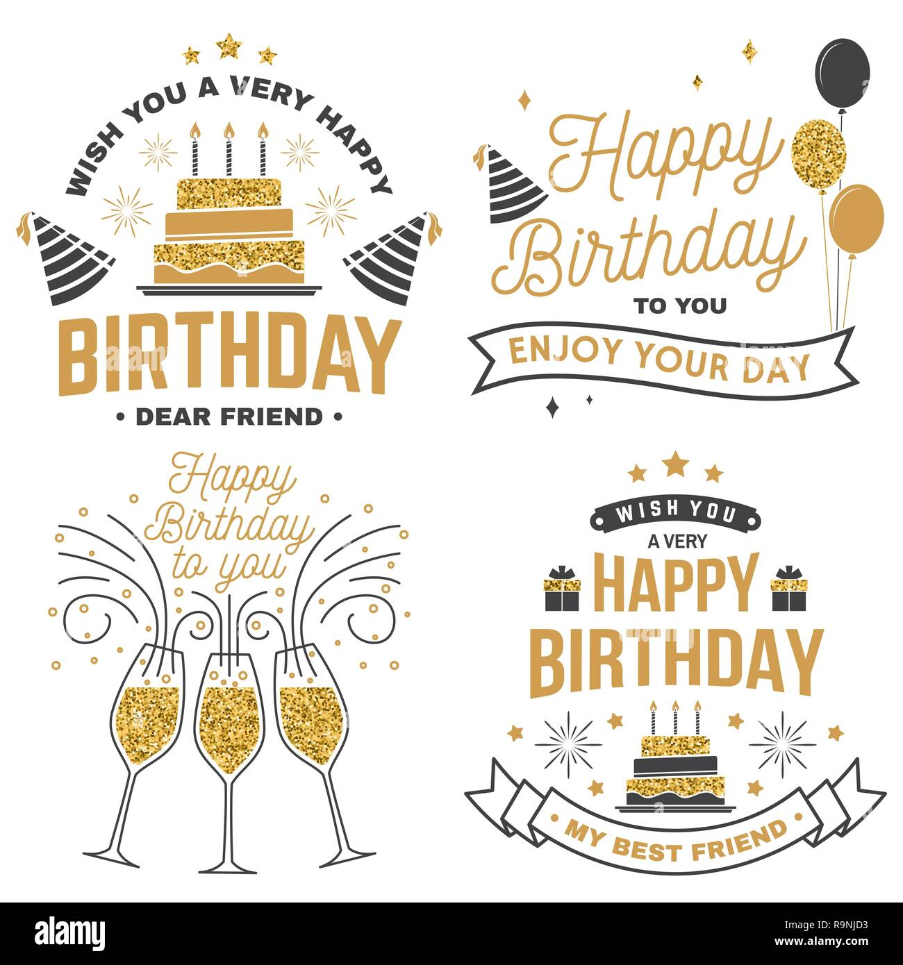 Wish You A Very Happy Birthday Dear Friend Badge Sticker Card With Birthday Hat Firework And Cake With Candles Vector Set Of Vintage Typographic Design For Birthday Celebration Emblem Stock Vector Image