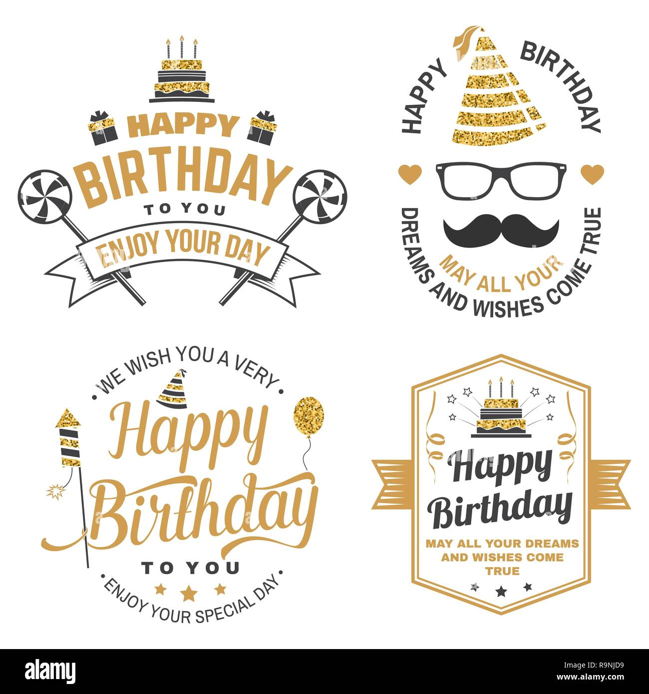 Badge Sticker Card With Birthday Hat Firework Mustache And Cake Candles Vector Set Of Vintage Typographic Design For Celebration Emblem