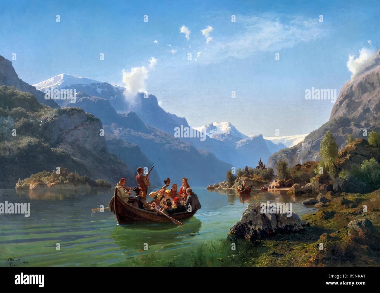 Bridal Procession on the Hardangerfjord by Hans Gude 1825-1903) and Adolph Tidemand (1814-1876), oil on canvas, 1848 - Stock Image