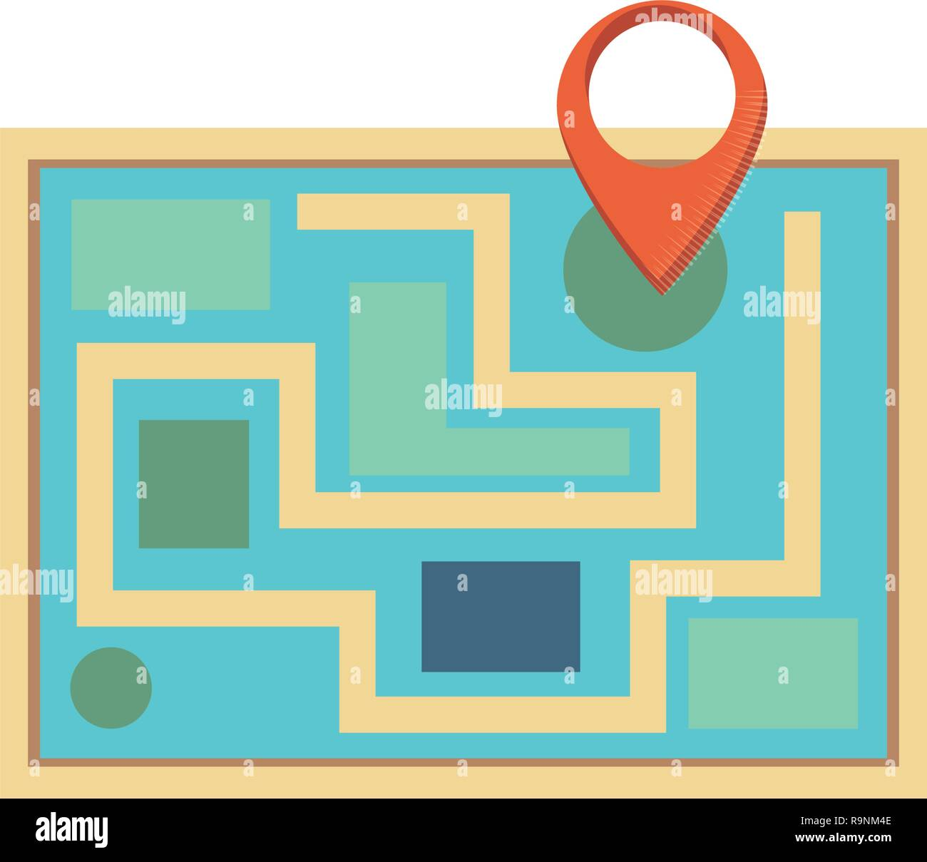 paper map guide with pin location vector illustration design - Stock Vector