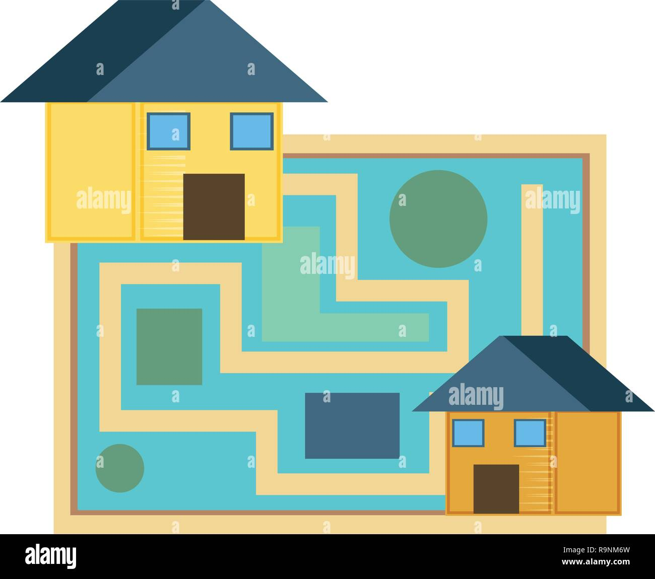 paper map guide with houses vector illustration design - Stock Vector