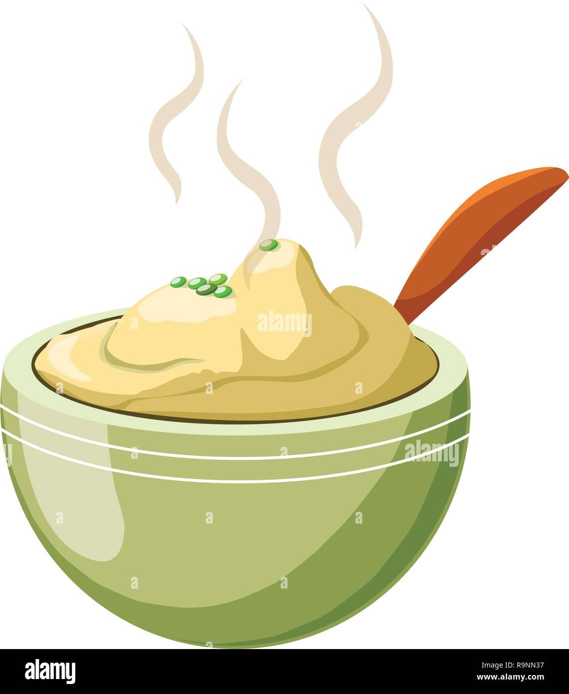mashed potatoes over white background, colorful design, vector illustration - Stock Image