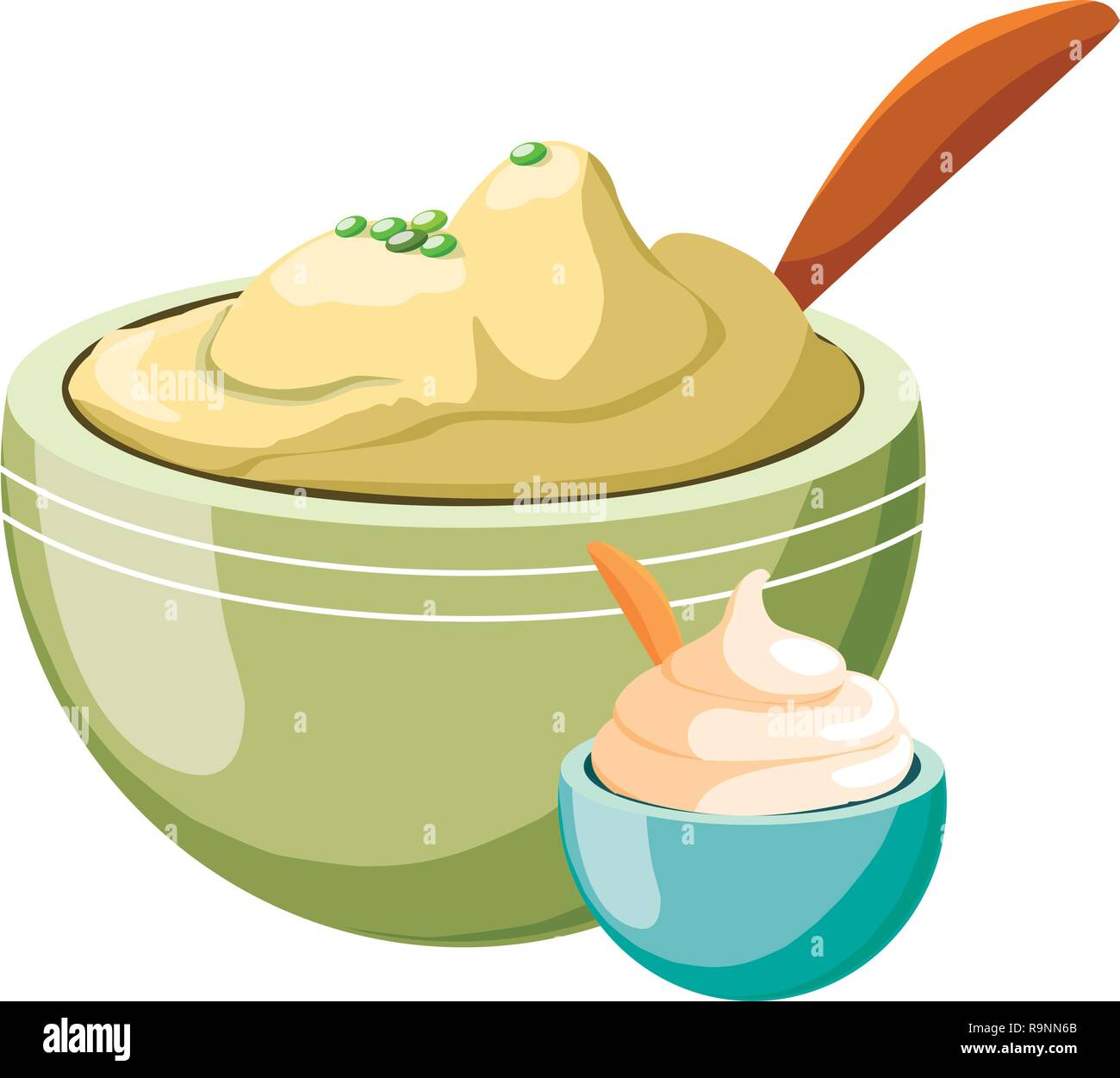 mashed potatoes over white background, colorful design, vector illustration - Stock Vector