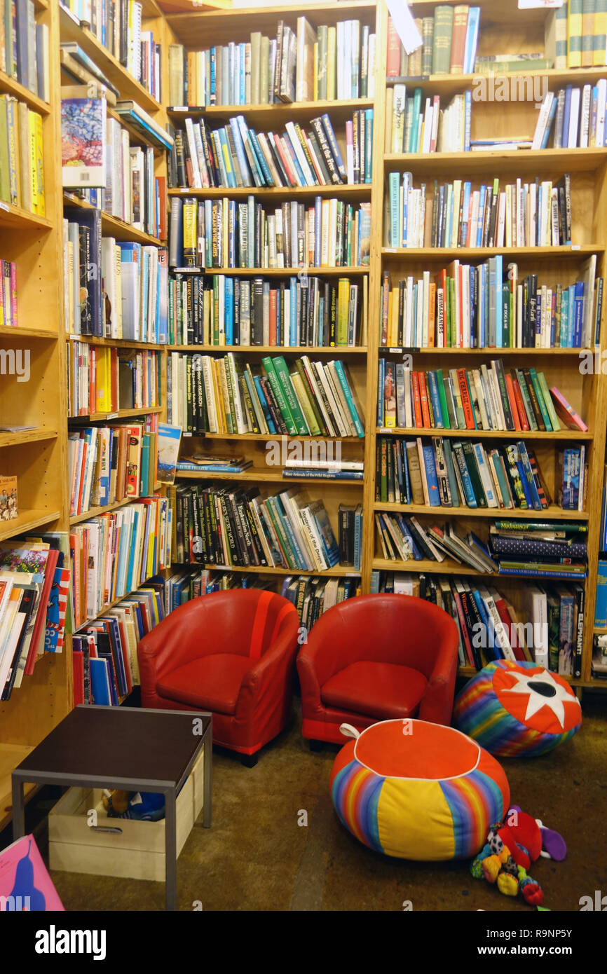 Reading nook for children in Berkelouw Books, Eumundi, Queensland, Australia. No PR - Stock Image