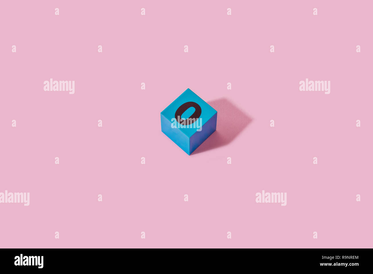 Blue Zero Cube Pattern. Pink background. - Stock Image