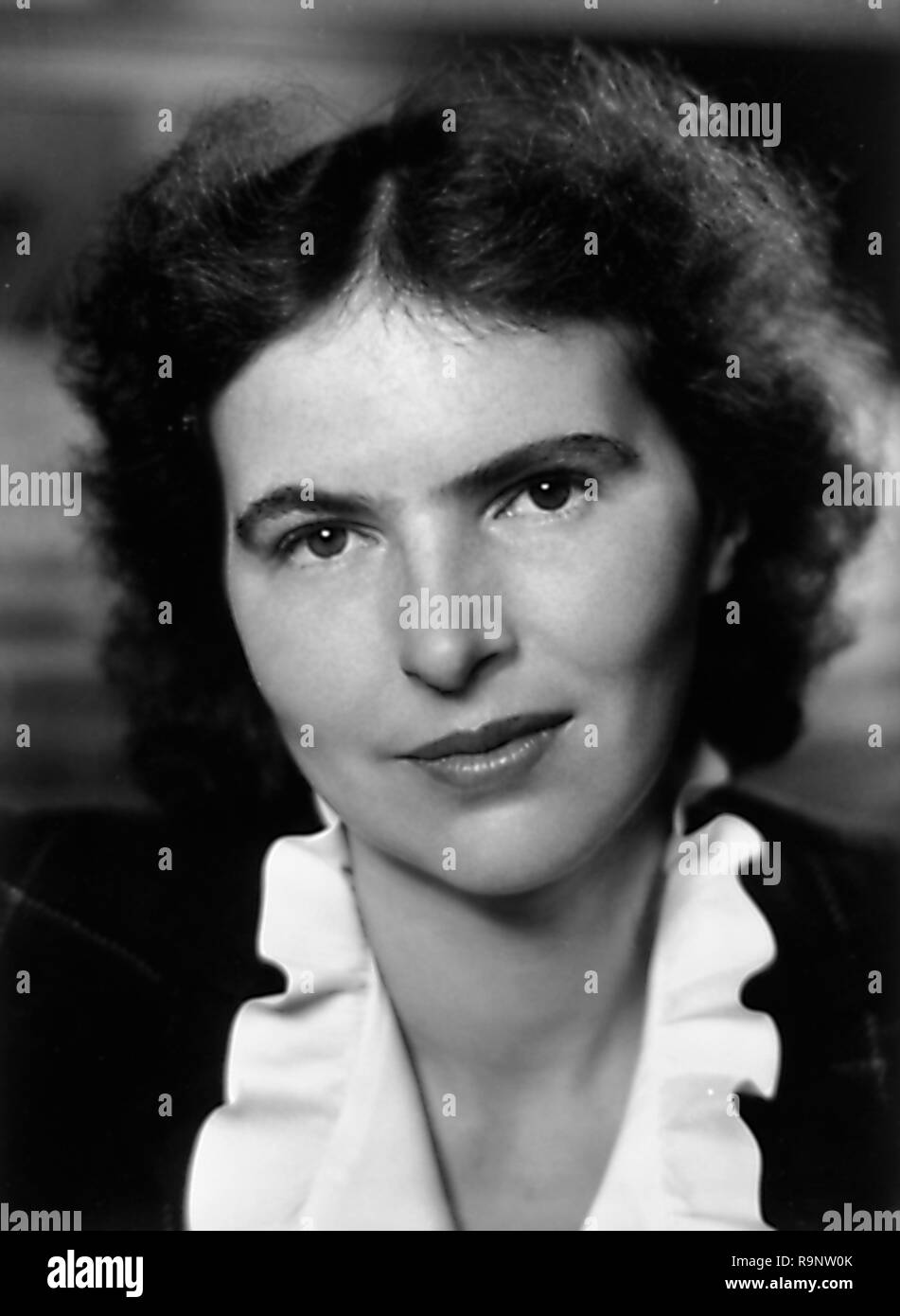 Black and white, headshot, portrait photograph, of American writer and photographic critic Nancy Wynne Newhall, wearing a ruffled collar, and facing the camera, with a slight smile on her face, photographed in New York, circa 1943 by the German-American portrait photographer Lotte Jacobi (1896-1990), 1943. () - Stock Image