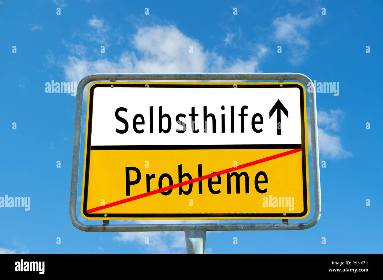 Ortstafel Selbsthilfe/Probleme - Stock Image