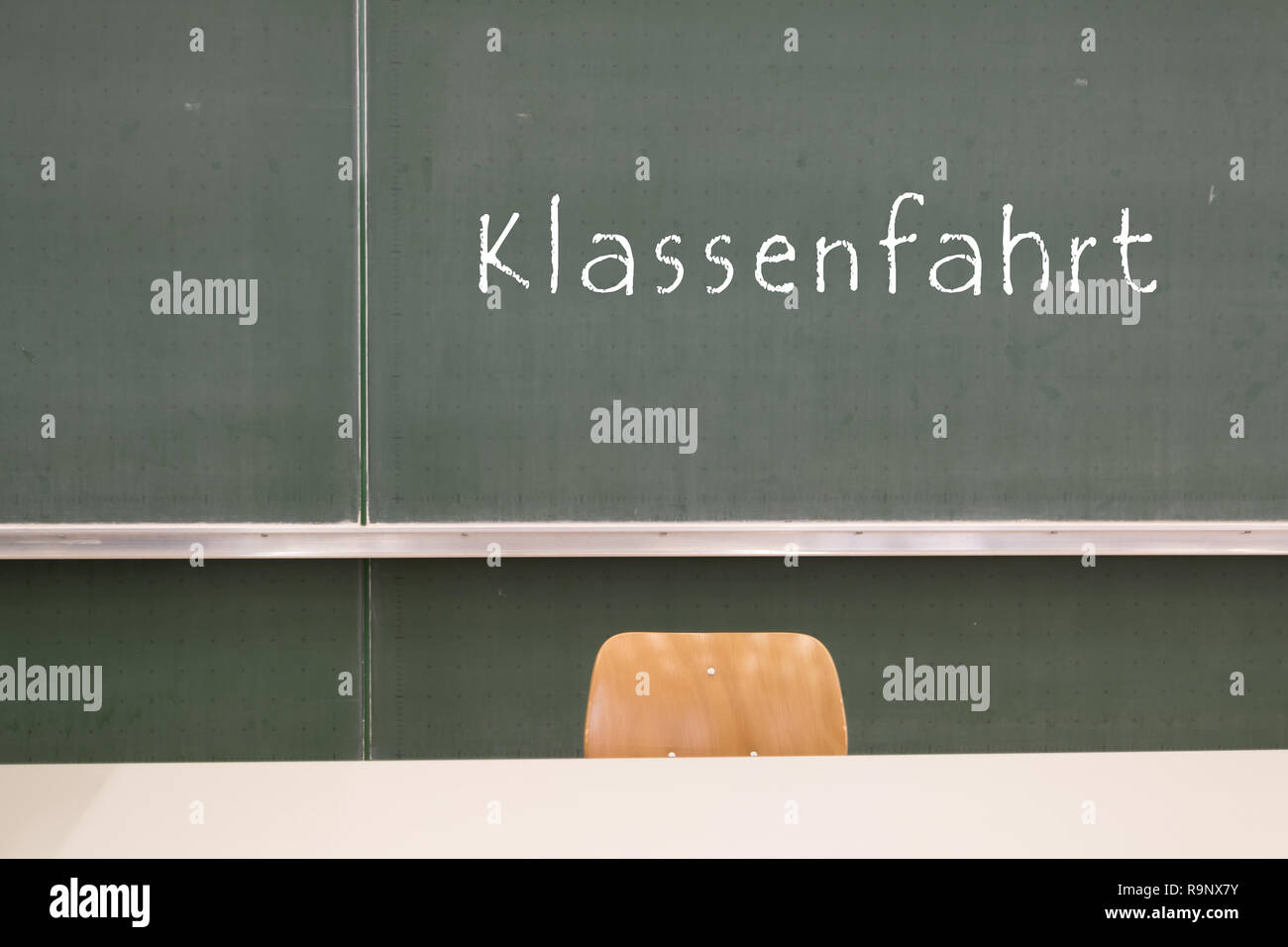 Word class trip at the blackboard Stock Photo