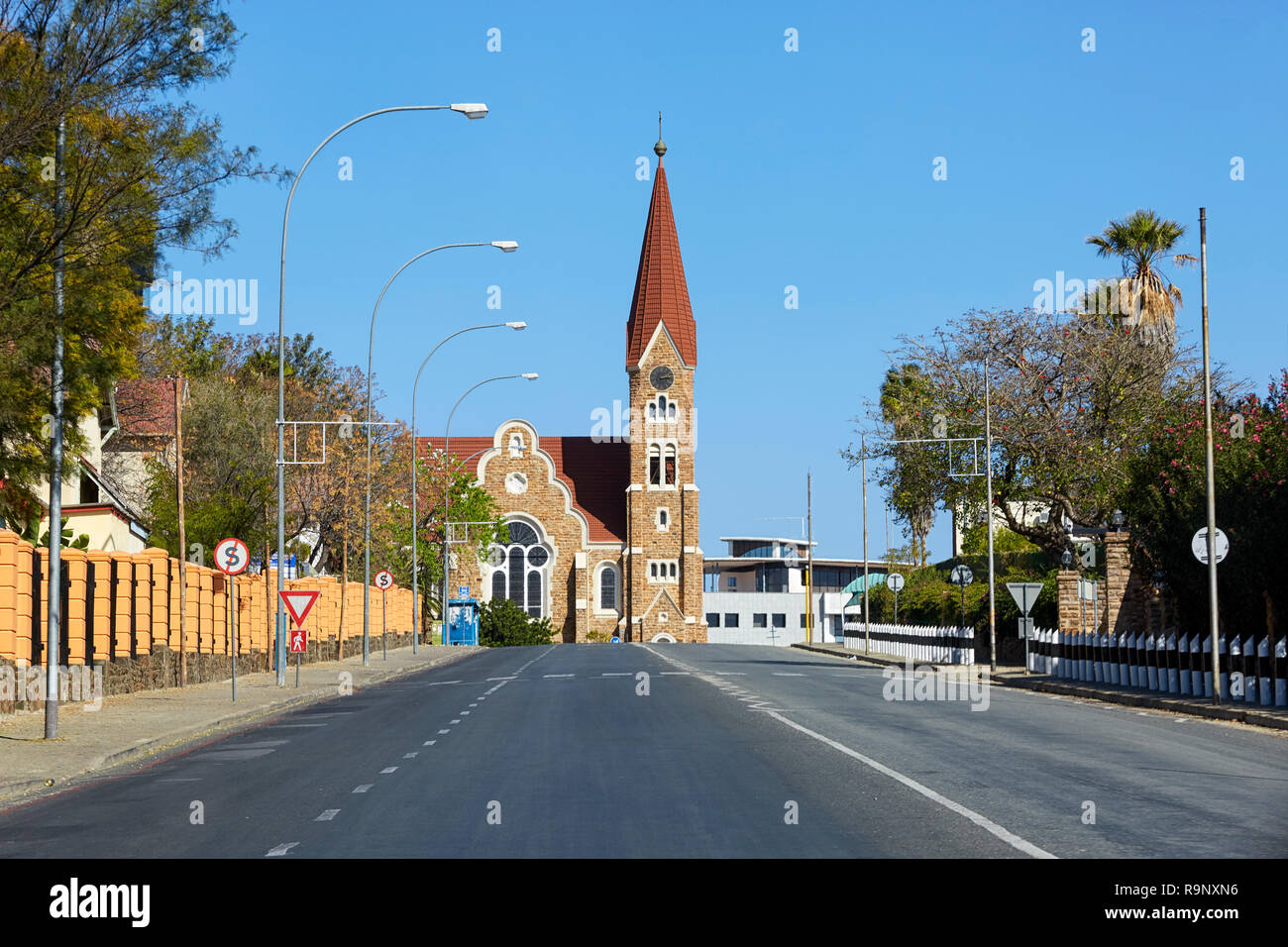 Christus kirche Christuskirche Christ Church on Robert Mugabe Avenue in Windhoek Namibia Africa - Stock Image