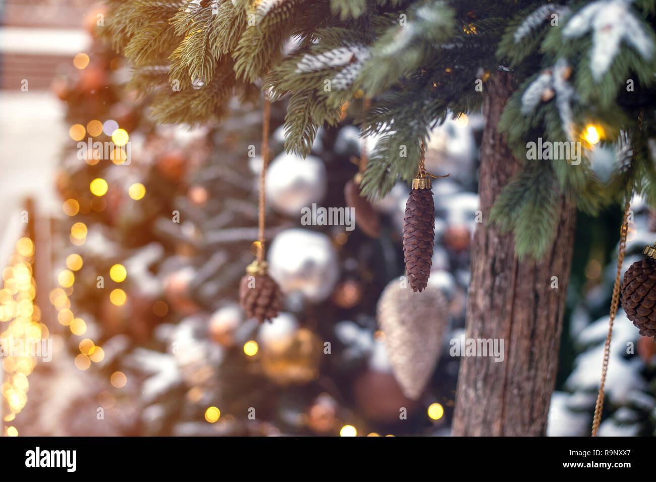 Christmas tree background golden toy - Stock Image