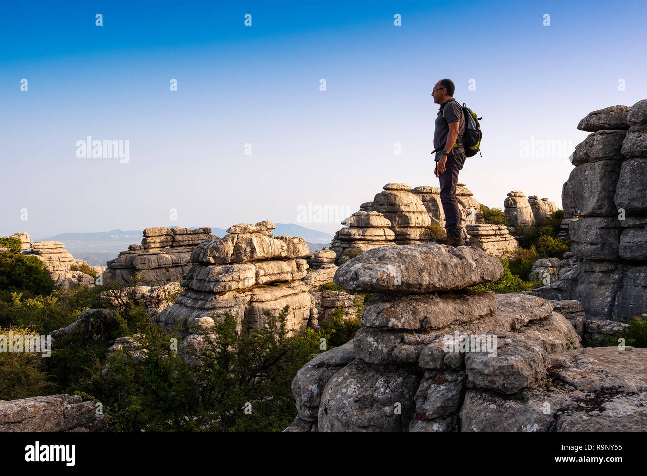 Torcal de Antequera, Erosion working on Jurassic limestones, Málaga province. Andalusia, Southern Spain Europe. - Stock Image