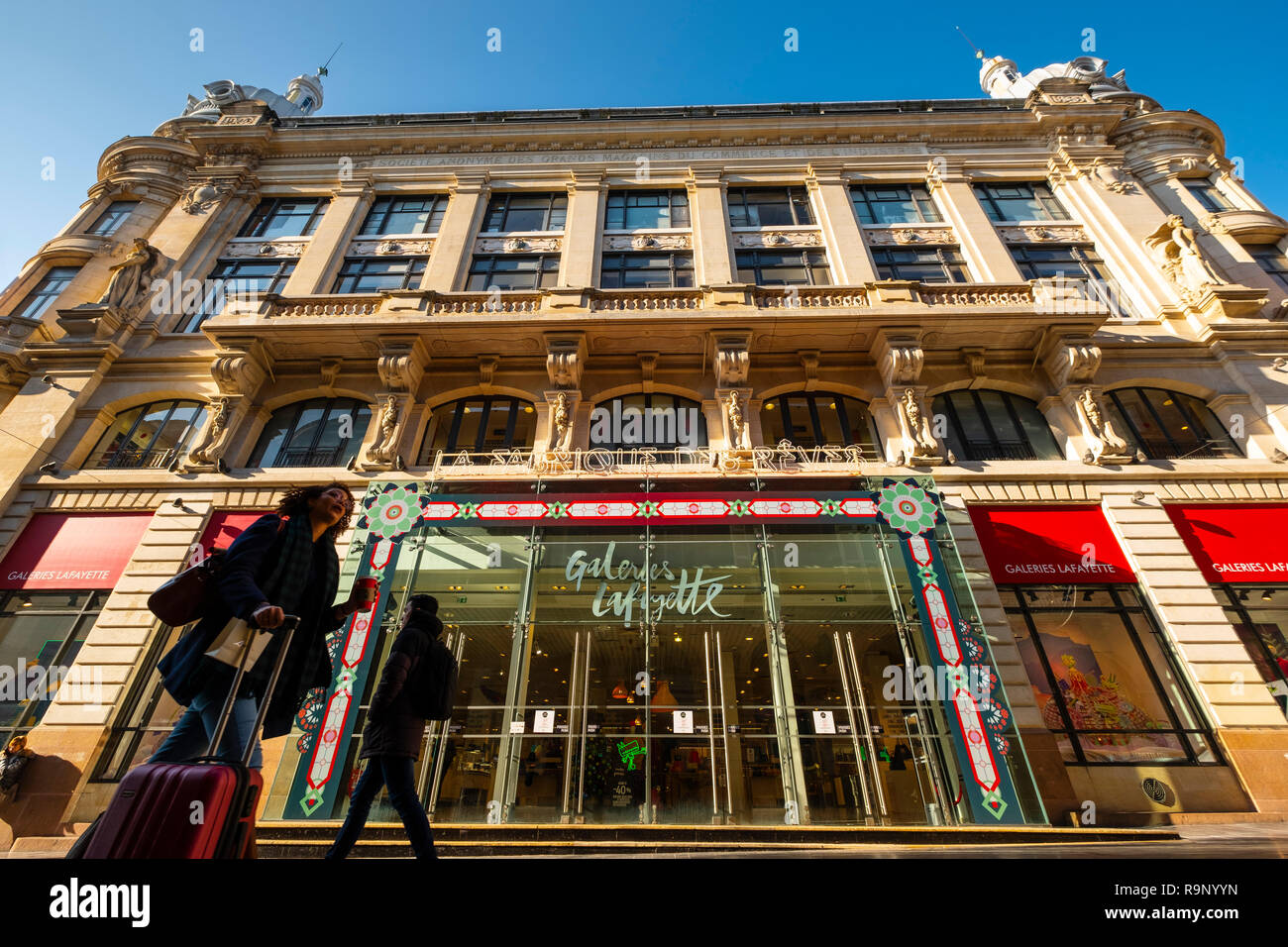 Galeries Lafayette. Shopping center in Rue Sainte-Catherine, center of Bordeaux, Gironde. Aquitaine region. France Europe. - Stock Image