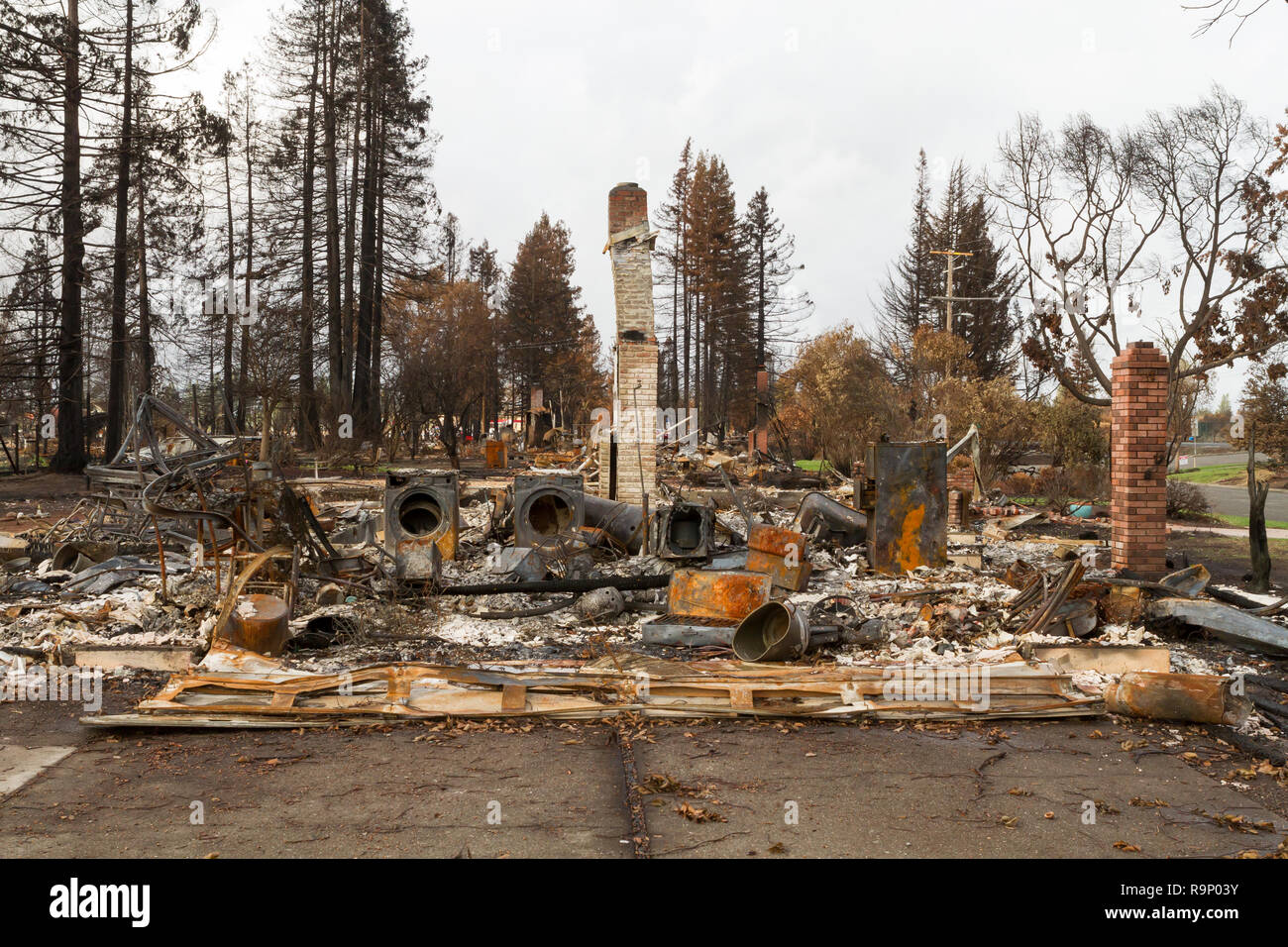 Lost Home - These images were captured in neighborhoods near Santa Rosa, California, where wildfires in early October 2017. - Stock Image