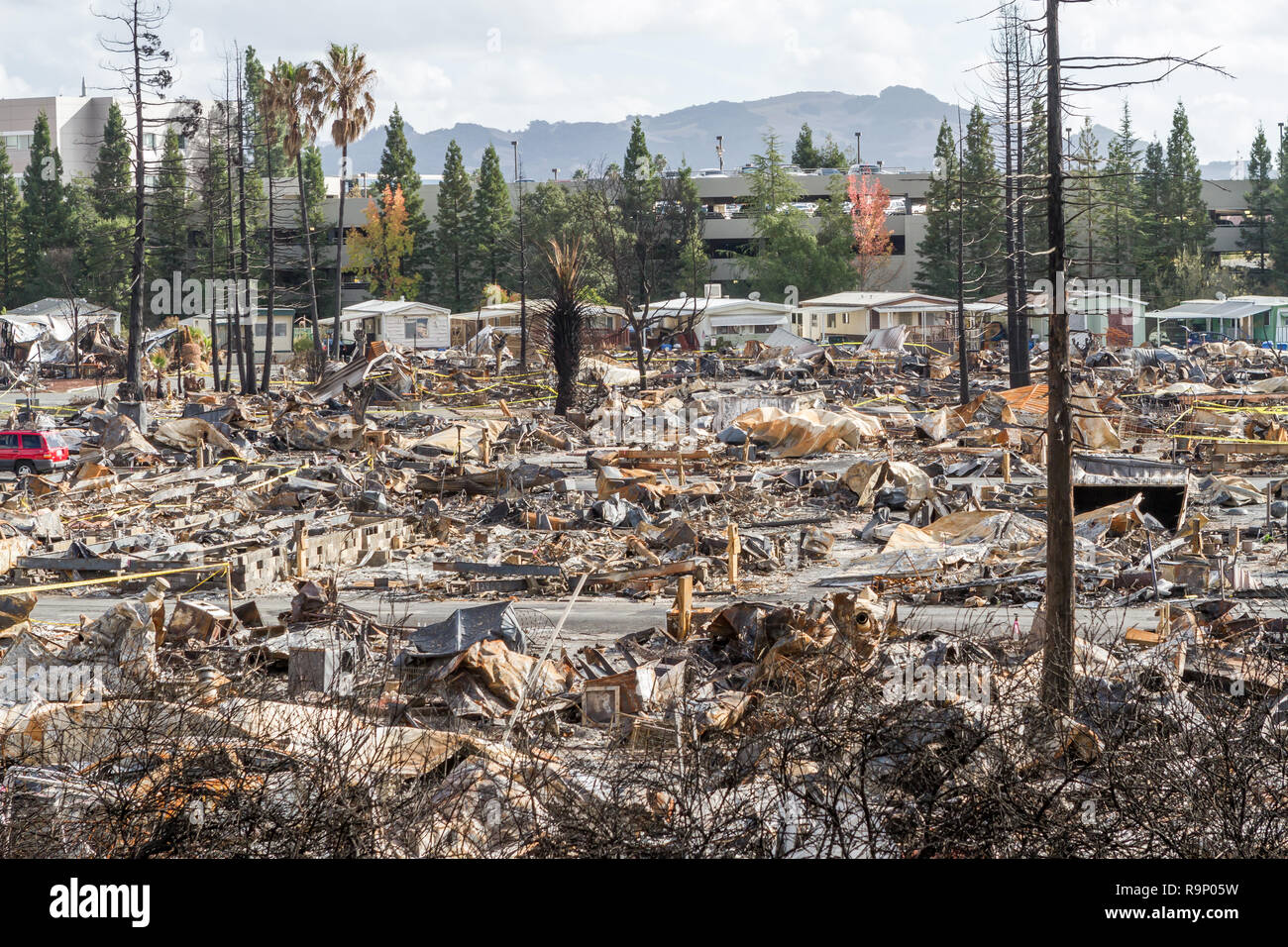 Destroyed Mobile Home Neighborhood - These images were captured in neighborhoods near Santa Rosa, California, where wildfires in early October 2017. - Stock Image