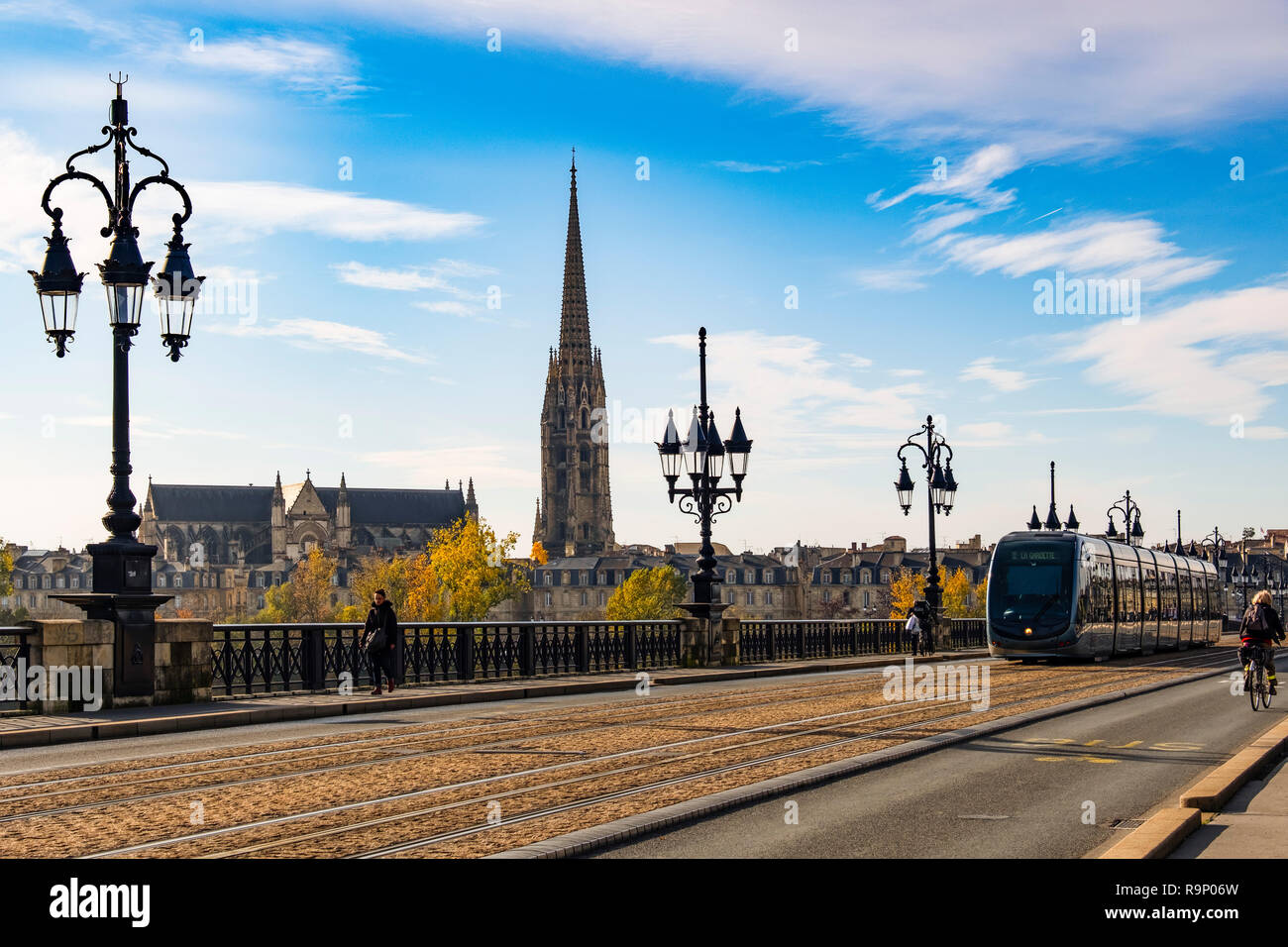 Tram line on Pont de Pierre. Stone Bridge over Garonne River. Bordeaux, Gironde. Aquitaine region. France Europe - Stock Image
