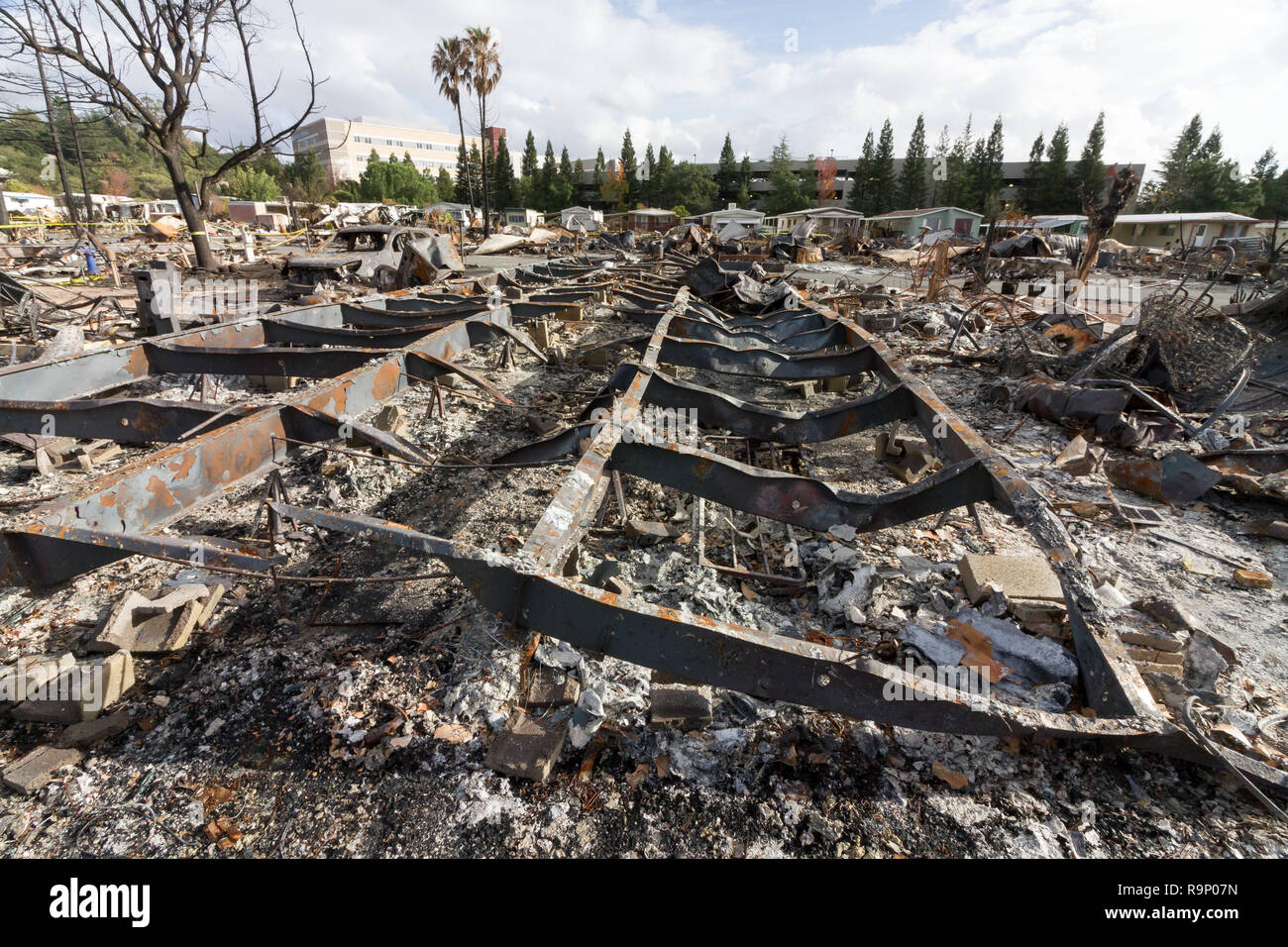 Melted Mobile Home Frame - These images were captured in neighborhoods near Santa Rosa, California, where wildfires in early October 2017. - Stock Image