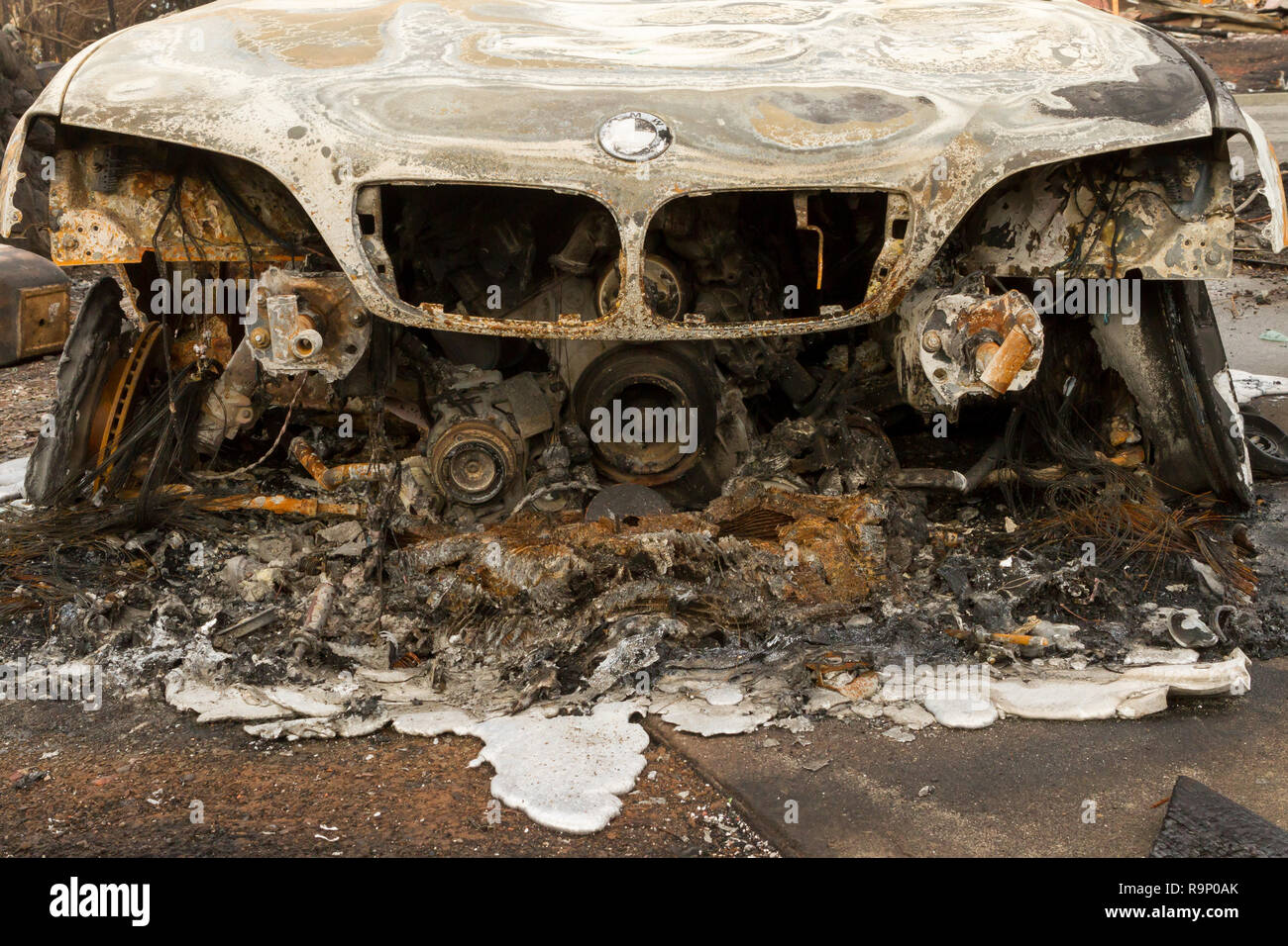 Melted Sportscar - These images were captured in neighborhoods near Santa Rosa, California, where wildfires in early October 2017. - Stock Image