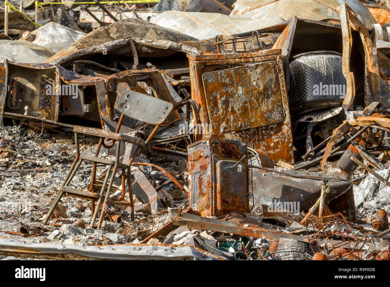 Broken Home - These images were captured in neighborhoods near Santa Rosa, California, where wildfires in early October 2017. - Stock Image