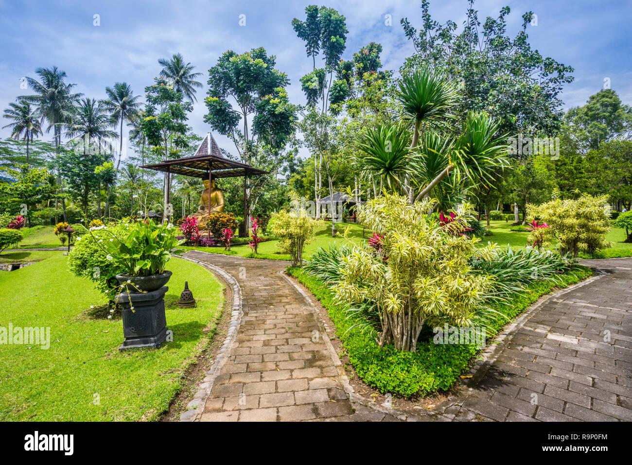 landscaped gardens of the Manohara Resort at the Borobudur archeological park, Borobudur, Central Java, Indonesia - Stock Image