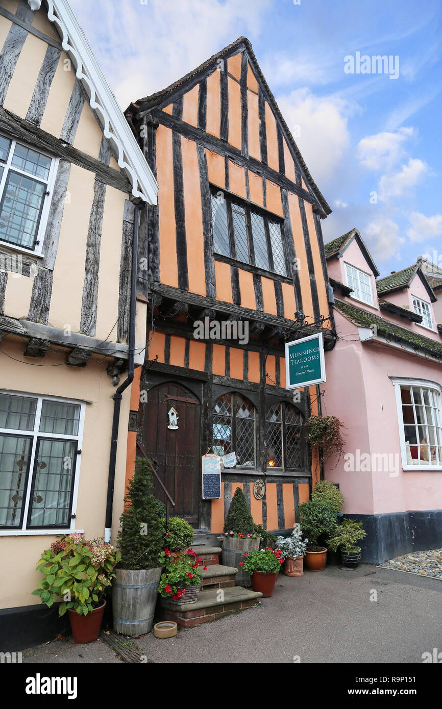 Munnings Tea Rooms, Crooked House, High Street, Lavenham, Babergh district, Suffolk, East Anglia, England, Great Britain, United Kingdom, UK, Europe - Stock Image