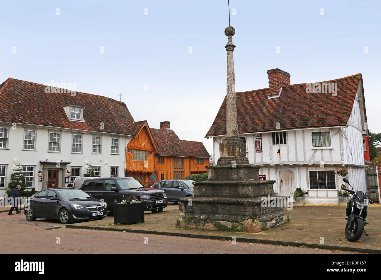 Great House Hotel and Market Cross, Market Place, Lavenham, Babergh district, Suffolk, East Anglia, England, Great Britain, United Kingdom, UK, Europe - Stock Image