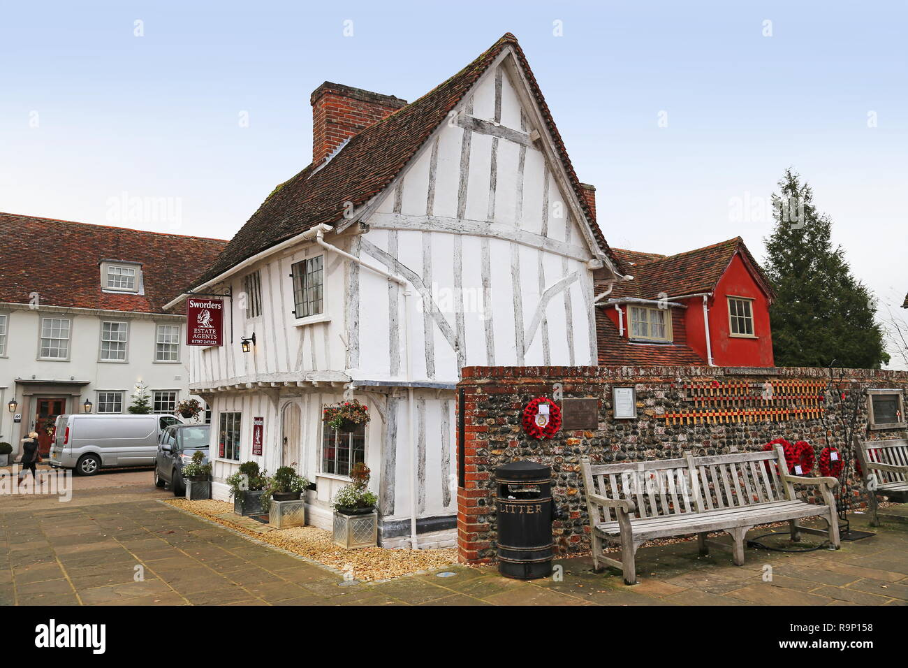 Sworders Estate Agents, Market Place, Lavenham, Babergh district, Suffolk, East Anglia, England, Great Britain, United Kingdom, UK, Europe - Stock Image