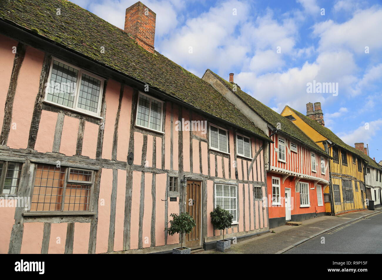 Half-timbered houses in Water Street, Lavenham, Babergh district, Suffolk, East Anglia, England, Great Britain, United Kingdom, UK, Europe - Stock Image