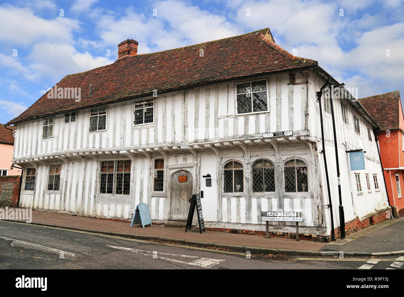 Number Ten Wine Bar & Kitchen, Lady Street, Lavenham, Babergh district, Suffolk, East Anglia, England, Great Britain, United Kingdom, UK, Europe - Stock Image