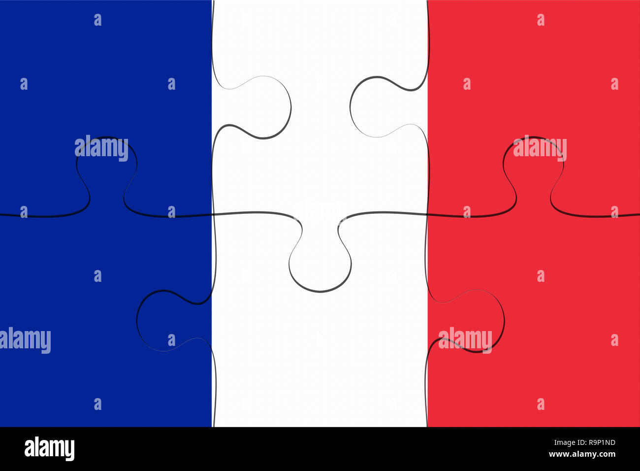 France Flag Jigsaw Puzzle, 3d illustration background - Stock Image