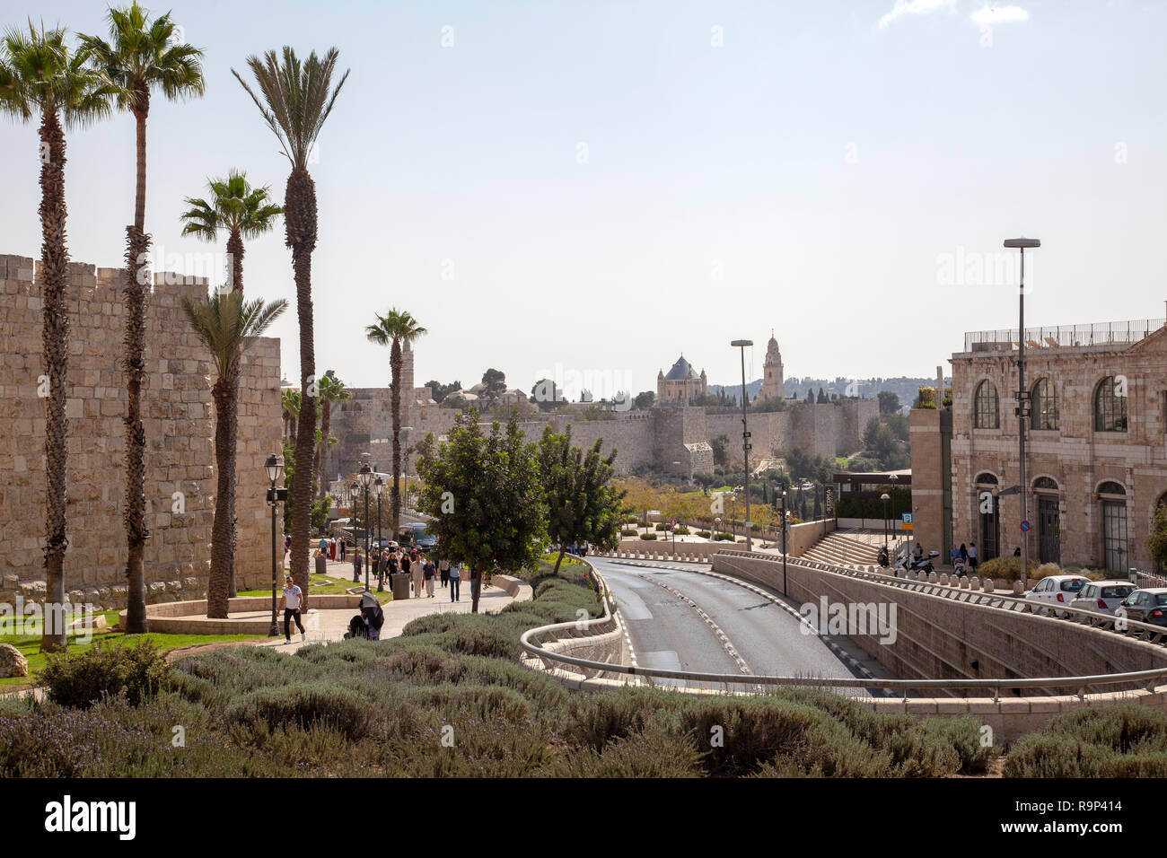 Jaffa Street Underpass Along Jerusalem Old City Walls in Israel - Stock Image