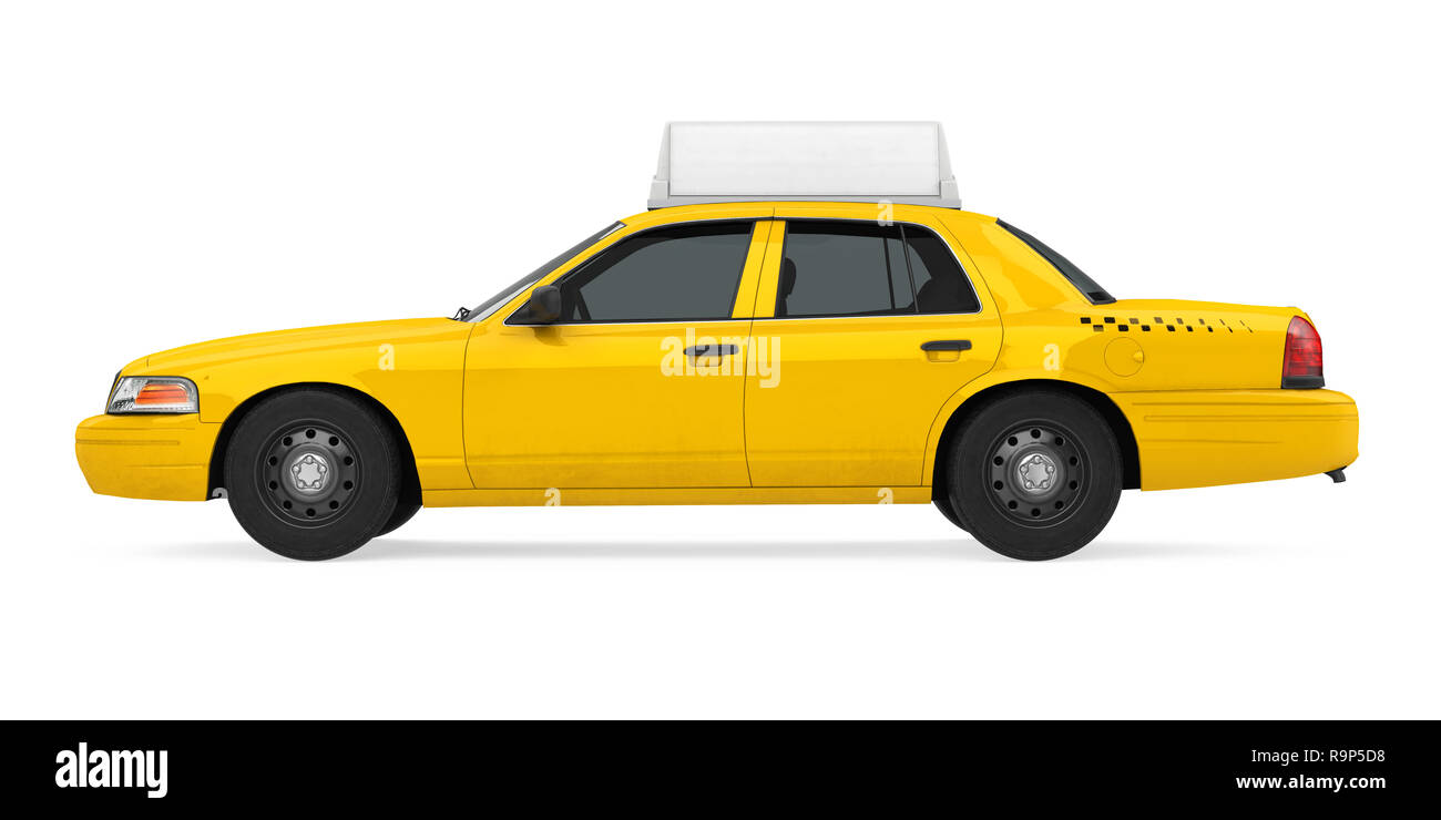 Yellow Taxi Isolated - Stock Image