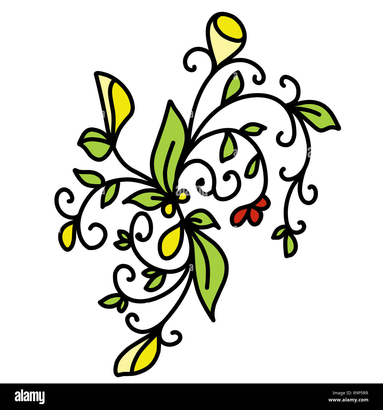 Stock Illustration Drawing Plants on a White Background - Stock Image
