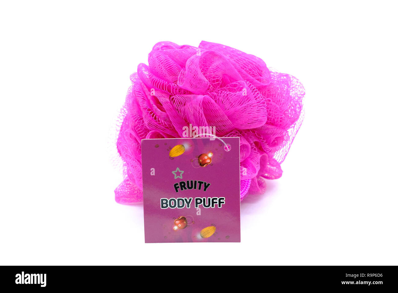 Largs, Scotland, UK - December 21, 2018: Superdrug Branded Body Puff Shower sponge and the product card only is recyclable as displayed on the rear of - Stock Image
