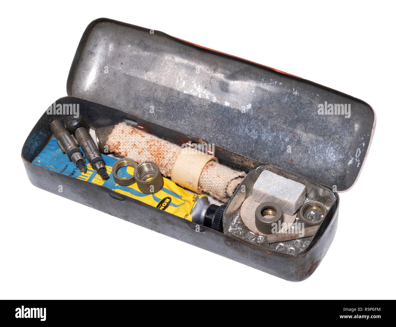 Puncture repair kits from the past. Stock Photo