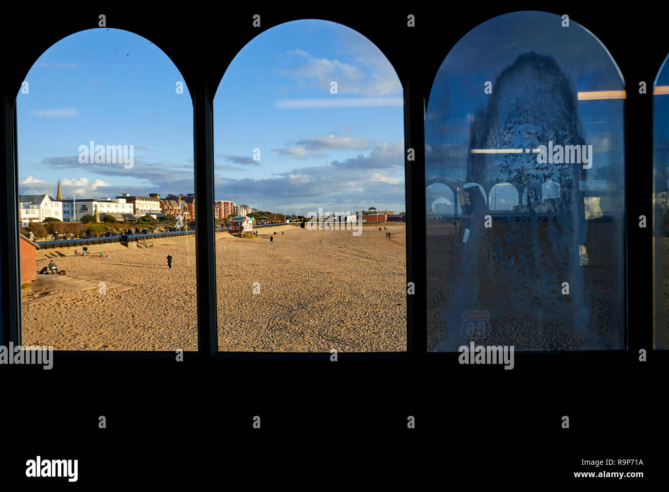 Lytham Saint Annes Lancashire, seafront waterfront promenade seaside resort on the Irish Sea coast of England,  view from Pier - Stock Image