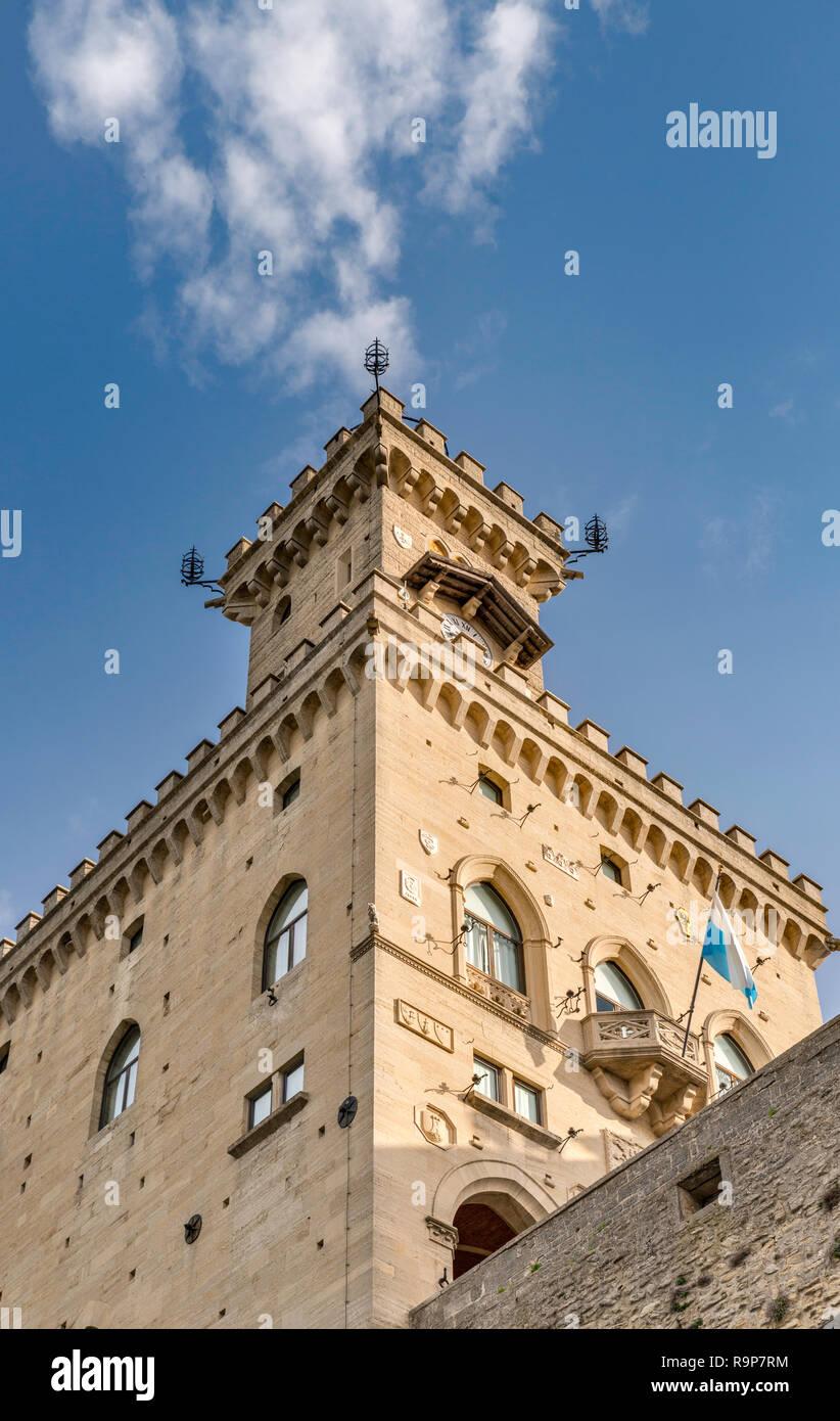 Palazzo Pubblico, Town Hall and San Marino State Government Building at Piazza della Liberta, Citta di San Marino - Stock Image