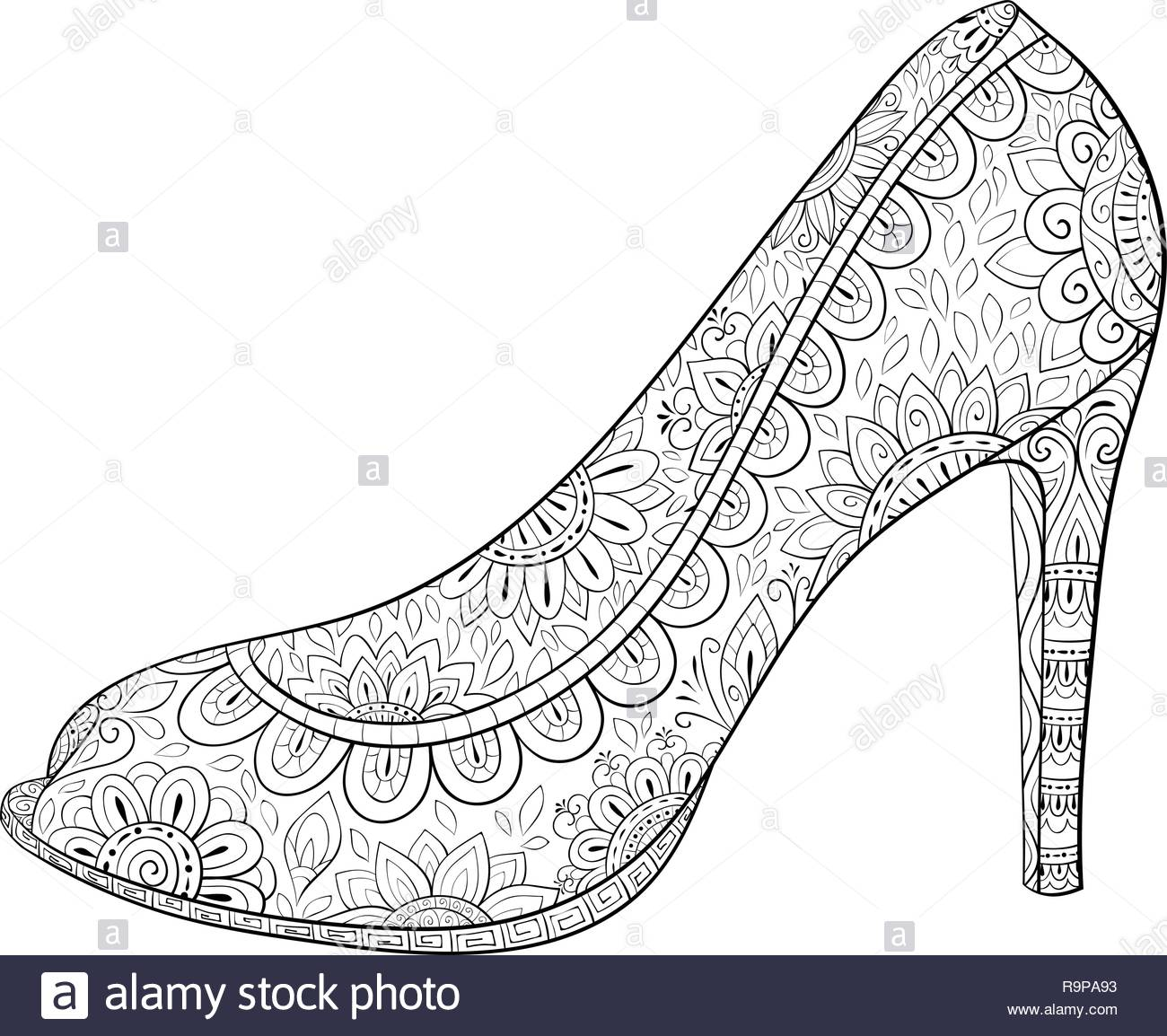 A Cute Shoe With High Heel Full Of Zen Ornaments Image For