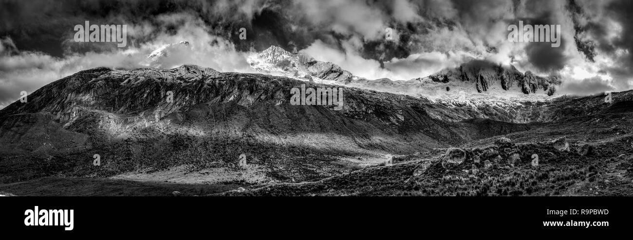 The Taulliraju mountain range in Peru as seen during the Santa Cruz Trek.. - Stock Image
