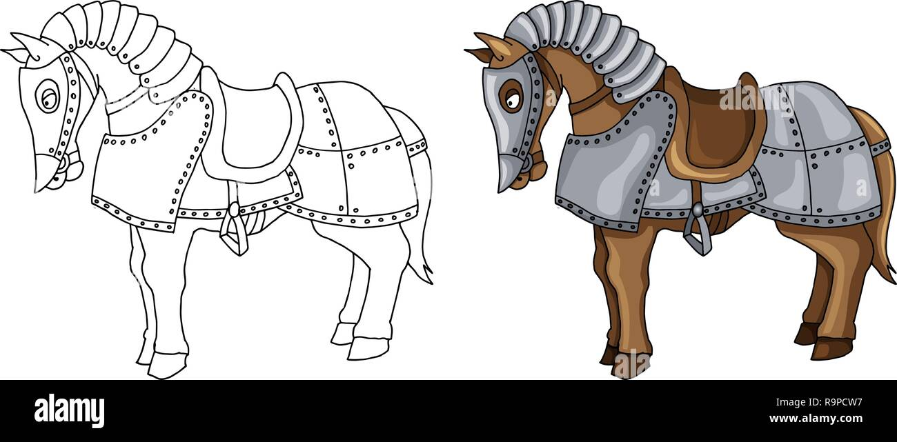 Cartoon Character Of War Horse In Armour Suit Illustration Isolated On White Stock Vector Image Art Alamy