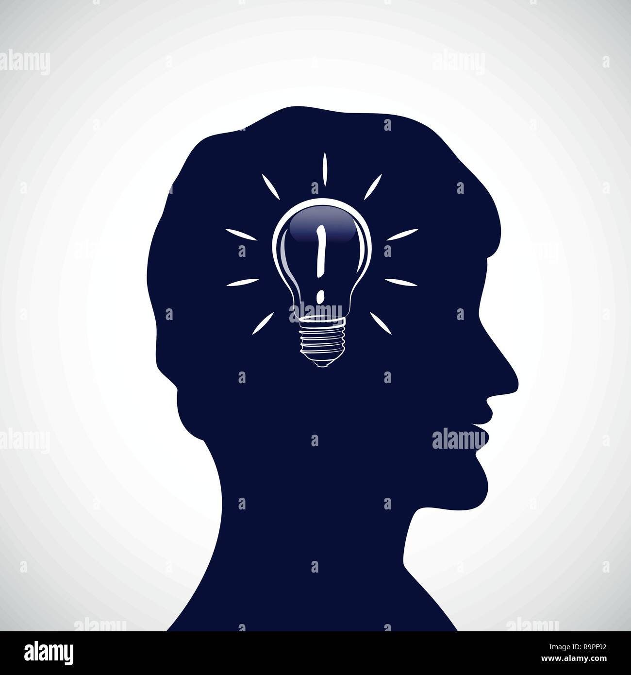man with good idea silhouette vector illustration - Stock Image