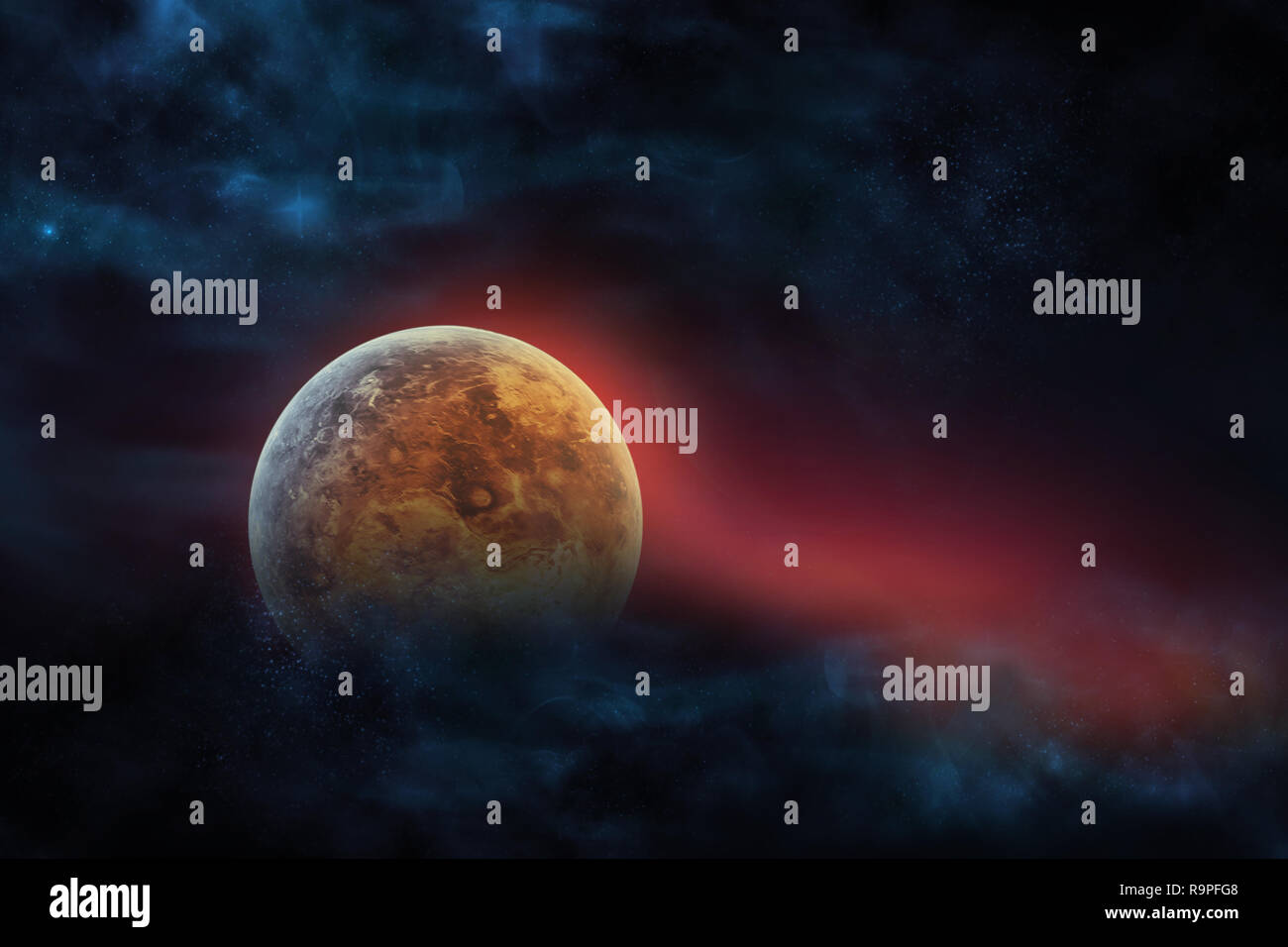 Celestial digital art, Venus planet and galaxies in outer space showing the beauty of space exploration. planet texture furnished by NASA, - Stock Image