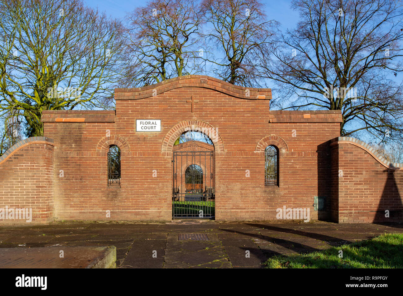 Entrance to floral court at Crewe cemetery, Crewe Cheshire UK Stock Photo