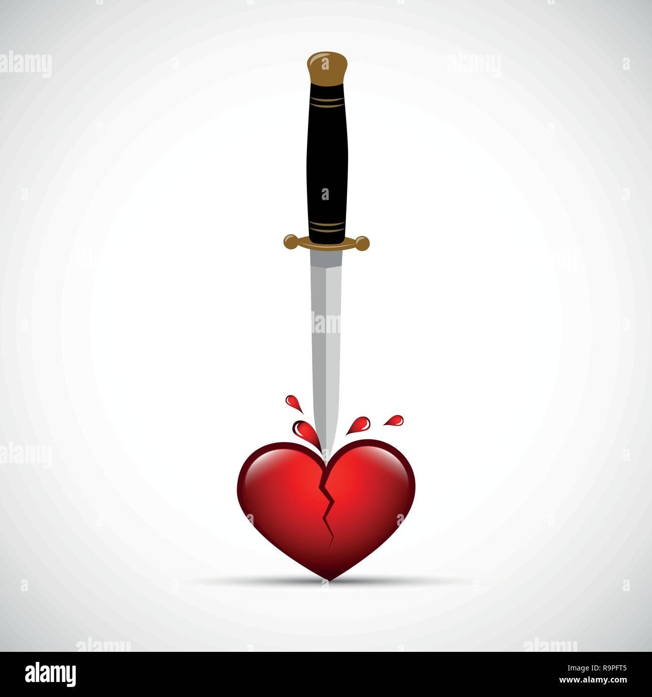 broken bloody heart with dagger vector illustration EPS10 - Stock Vector