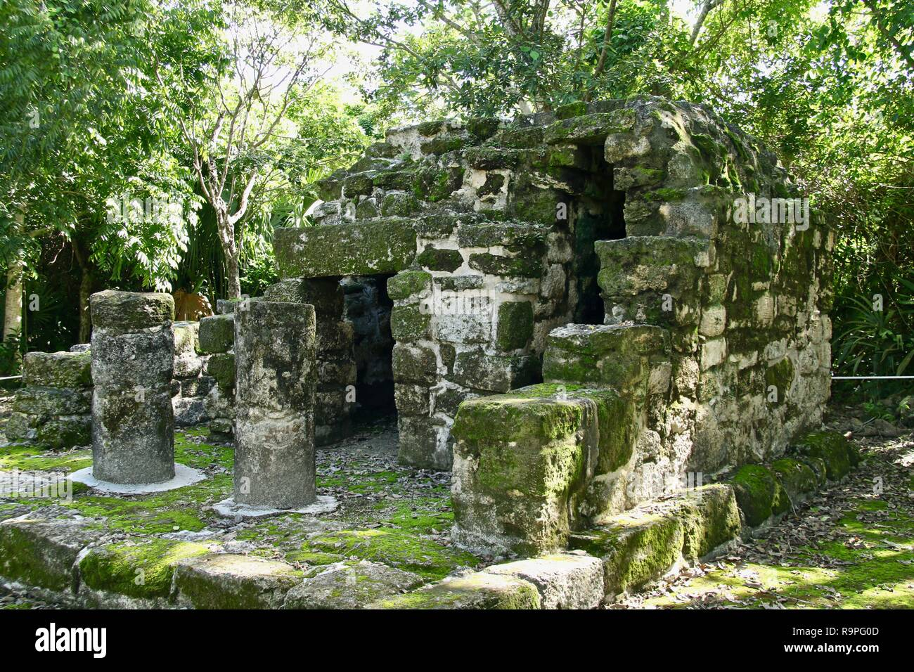 Mayan ruins in the jungles of Mexico showing the Maya empire - Stock Image