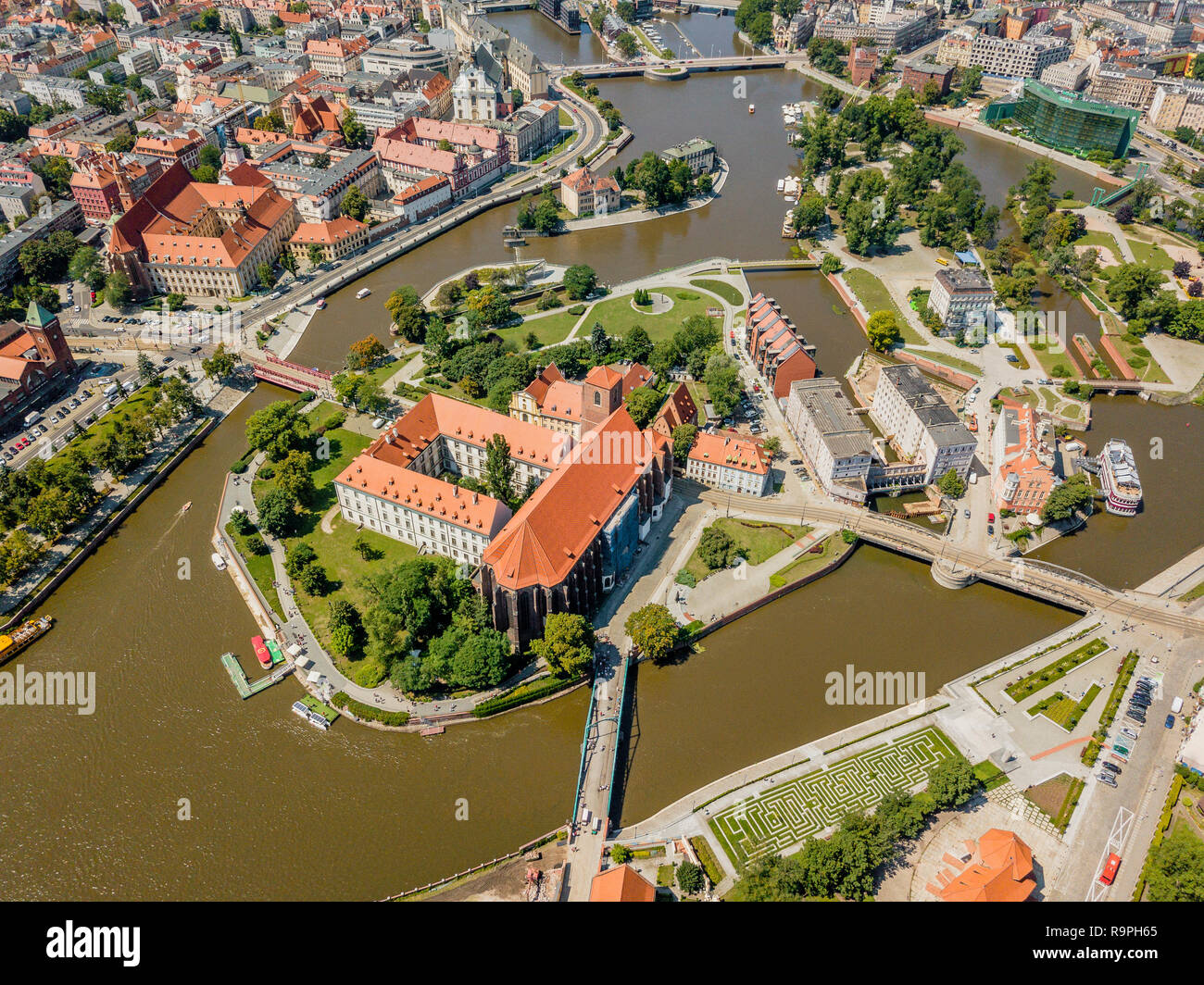 Aerial view of the oldest, historic part of Wroclaw located mostly on the islands, Poland Stock Photo